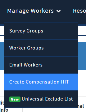 Create Compensation HIT option in TurkPrime interface