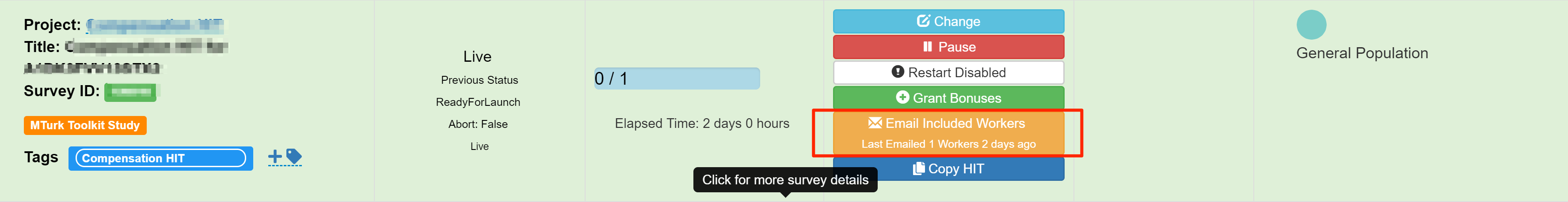Email Included Workers on TurkPrime Dashboard