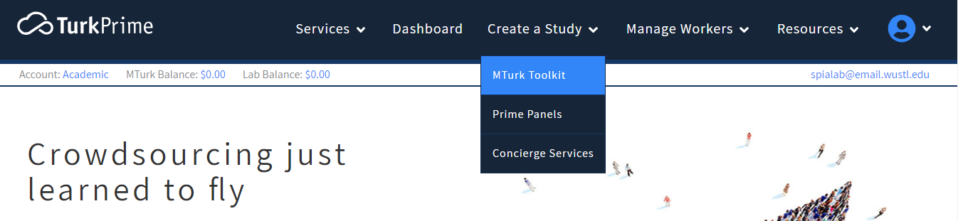 TurkPrime's Create a Study navigation menu