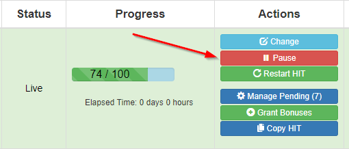 TurkPrime's Pause Feature on Dashboard