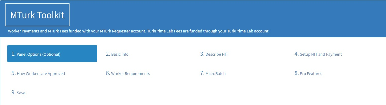 TurkPrime MTurk Toolkit Panel Options