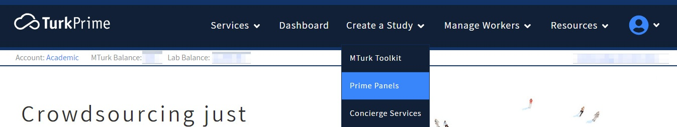 Prime Panels menu on TurkPrime to create a study